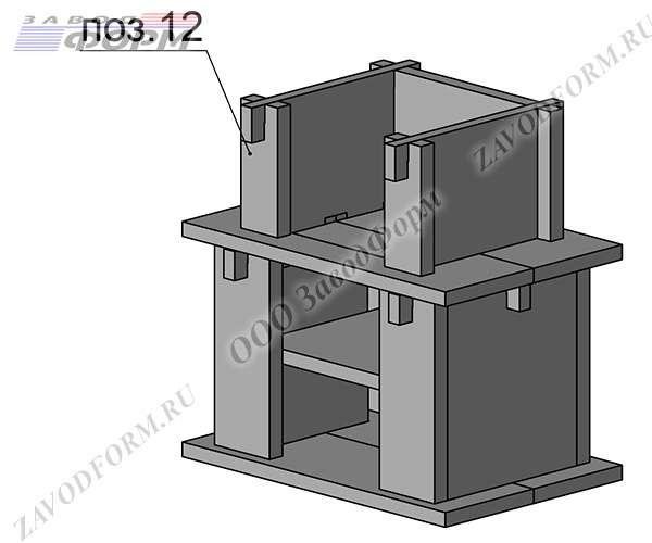 Следом ставятся фасадные элементы и боковые стенки мангала (поз. 12-13)