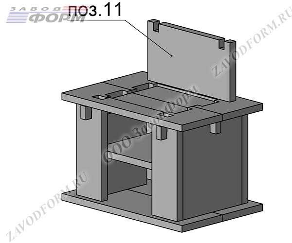 Далее производится установка задней стенки мангала печи барбекю (поз.11)