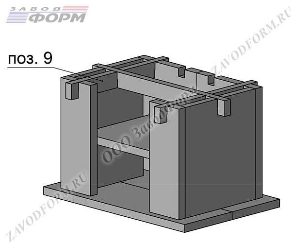 После подгонки конструкции, верхний продольный крепёж снимается и перпендикулярно ему ставятся поперечные элементы. Они скрепляют заднюю и фасадные части хозблока печи барбекю. Поверх возвращается на место крепежный элемент боковых стенок (поз.9)