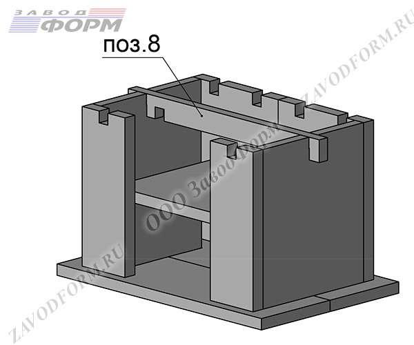 Сверху крепится и подгоняется крепежный элемент боковых стенок (поз.8)